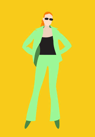 Redhead girl in an elegant light green suit on a yellow background. Vector image for illustrations.