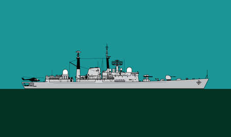 Navy escort ship. Silhouette of a modern military ship. Vector image for illustrations and infographics. Ilustração
