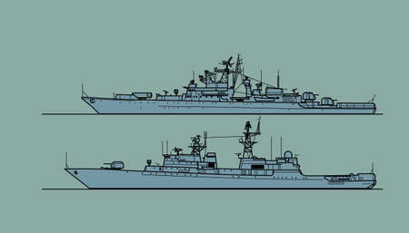 Soviet cold war navy. Escort ships. Vector image for illustrations and infographics.