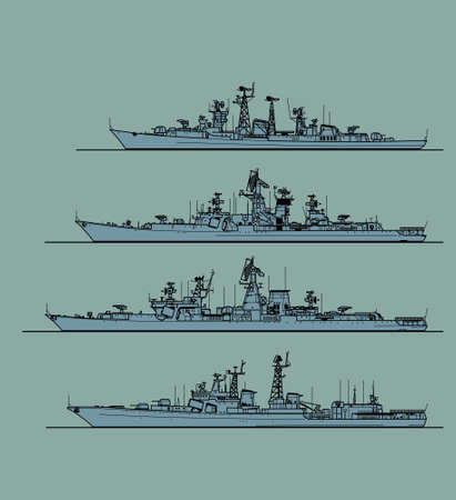 Soviet cold war navy. Anti-submarine frigates. Vector image for illustrations and infographics.