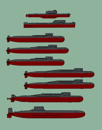 Soviet cold war navy. Ballistic missile submarines. Vector image for illustrations and infographics.