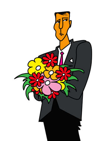 Unsuccessful date. Sad man with a bouquet of flowers. Vector image for illustrations.