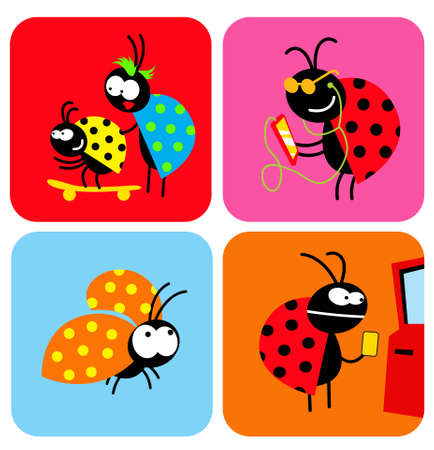Social life of beetles. Comic characters of insects in different situations. Vector image for illustrations. 向量圖像