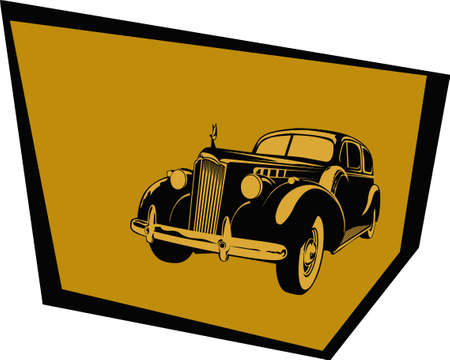 Old poster. Stylized image of a car from the 40s. Vector image for illustrations.