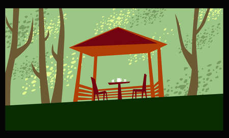 Outdoor tea. Cozy gazebo among the trees. Vector image for illustrations.