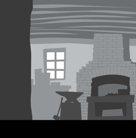 Inside the old smithy. Furnace, hammer, anvil, forge interior. Vector image for illustrations.