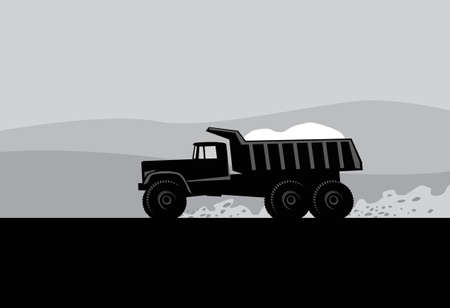 big truck running on the road. Vector image for illustrations.