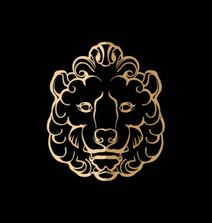 Vector image of a stylized lion head. Stock Illustratie