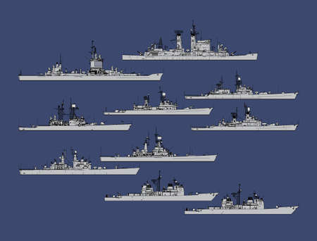 Set of silhouettes of us navy guided missile cruisers.