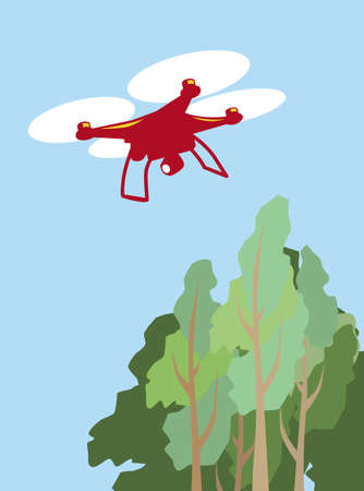 Quadcopter flying over the treetops. Simple image of a quadcopter in the sky. Vector image for illustrations.