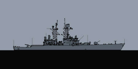 US Navy nuclear powered guided missile cruiser. Vector image for illustrations and infographics. Illusztráció