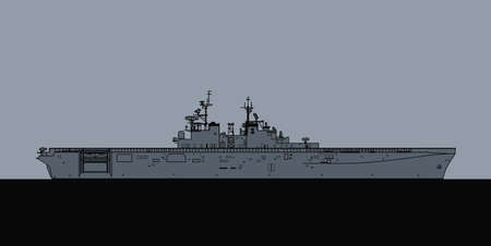 US Navy Wasp class amphibious assault ahip. Vector image for illustrations and infographics.