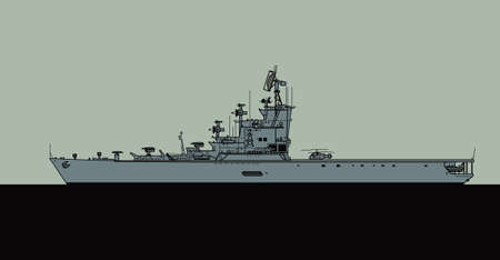 Projekt 1123 Soviet anti-submarine aircraft carrier. Moskva, Leningrad. Vector image for illustrations and infographics.