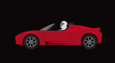 Red sports roadster on a black background. Vector image for illustrations.