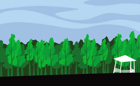 The edge of the forest. A lone gazebo near the forest. Vector image for illustrations.