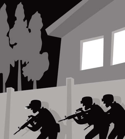 A special police unit is operating. SWAT in action. Vector image for illustrations. Vektorgrafik