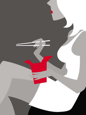 Woman with Thai food box and chopsticks. Vector image for illustrations. Vektorové ilustrace