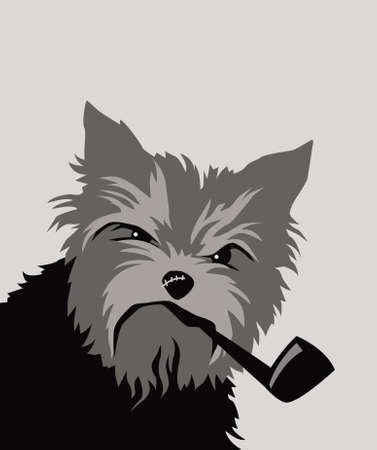 Tough dog. Yorkshire terrier with a smoking pipe. Vector image for logo, prints or illustrations.