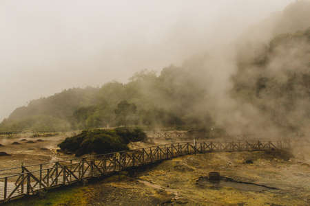 Lagoa das Furnas is one of the three main crater lakes on Sao Miguel. It has naturally boiling water of the caldeiras (hot springs). There are multiple geothermal springs in the area Banco de Imagens