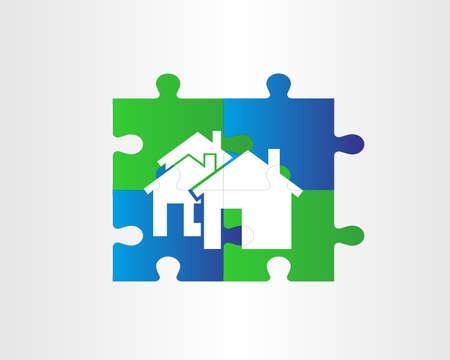 puzzle house backround Vector