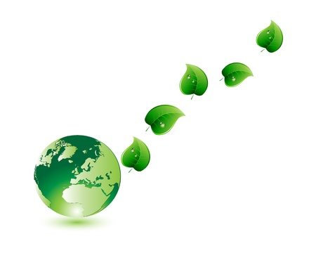 green nature globe and leaf Stock Vector - 17819491