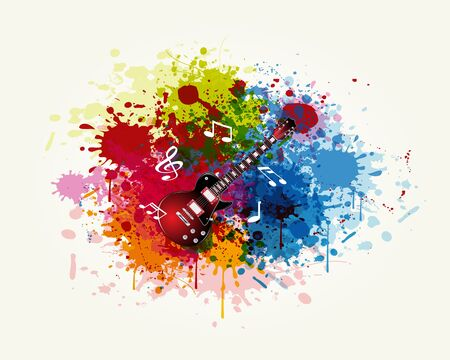 The Guitar in the Colorful Splashing  Stock Vector - 18303209