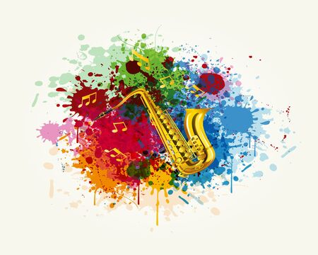 abstract backround: The saxophone in the colorful splashing vector Illustration