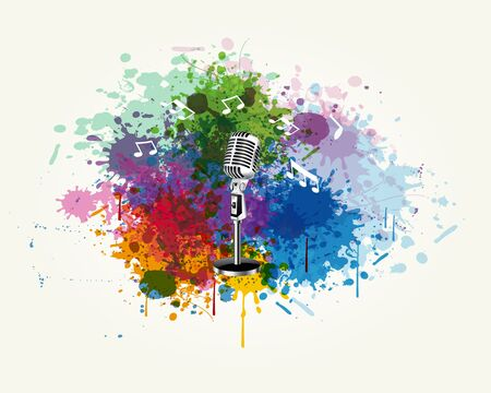 The microphone is in the splashing vector Stock Vector - 18303210