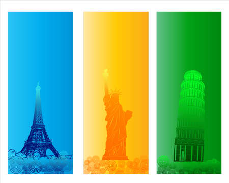 Colorful Famous City Banner and Backround Stock Photo - 18542430