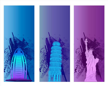 Colorful Famous City Banner and Backround Stock Photo - 18542415