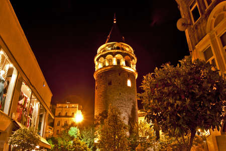 Photo of Galata Tower at Night in Istanbul