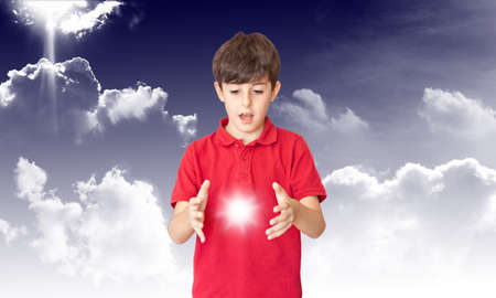 discover: The Child Discover The Sun in the Couds Stock Photo