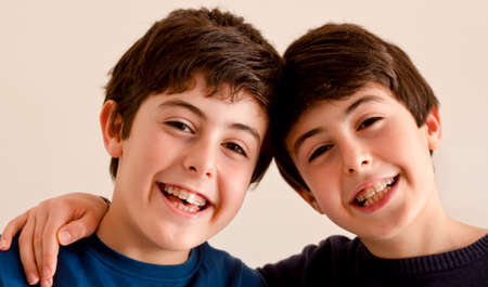 teeth braces: Happy boys with braces