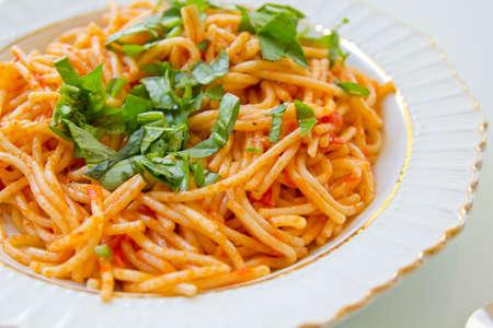 bacillus: Spaghetti with fresh basil Stock Photo