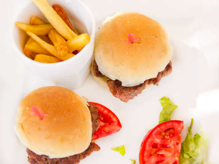 fench: Burger served with fench fries and tomato