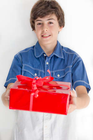 Boy with red gift