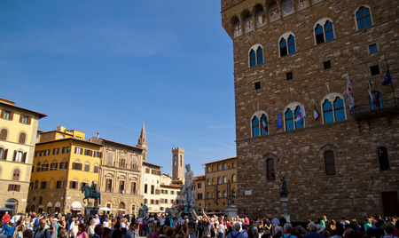 Panoramic view of the Piazza della Signoria with Palazzo Vecchio in Florence, Tuscany, Italy Editorial