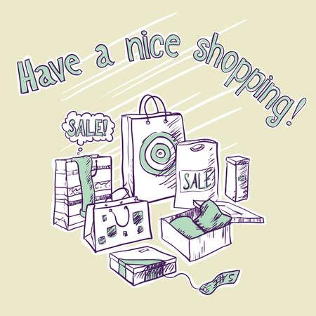 bage: shopping card Illustration
