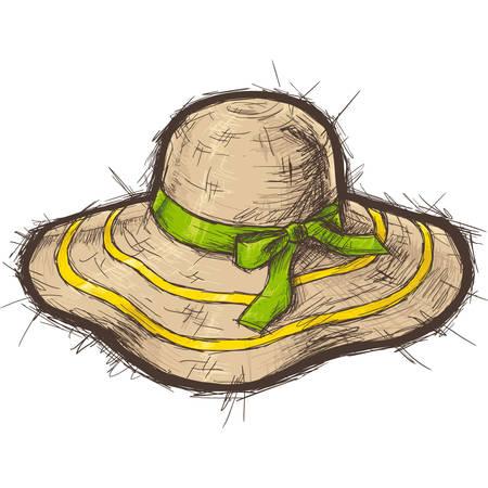 straw hat: Straw beach hat