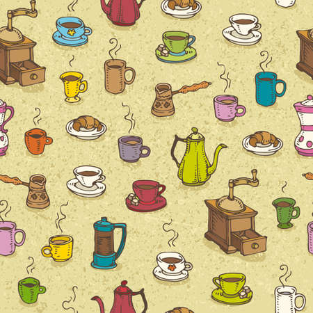 Caffe pattern seamless with different cups and pots. Illustration