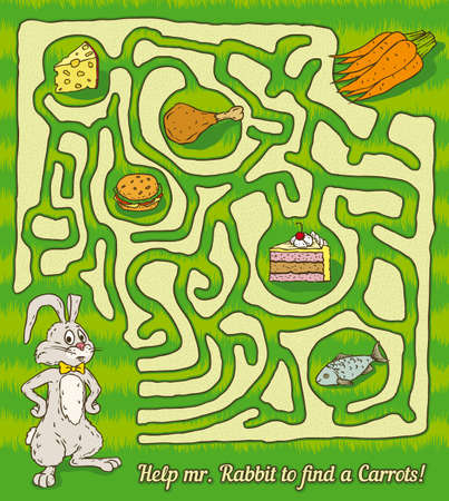 game meat: Rabbit Maze Game. Find a carrots. Vector illustration