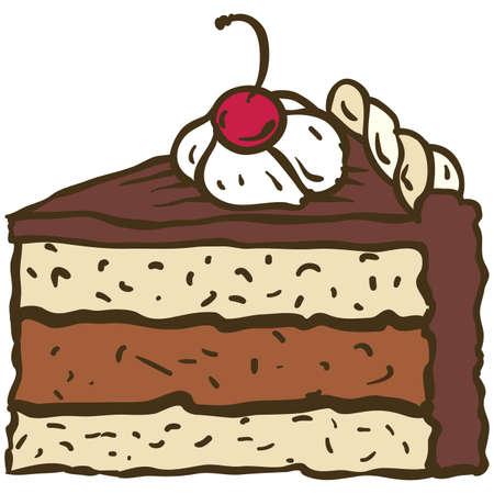 piece of cake: Un pedazo de pastel de chocolate con cereza. Ilustración vectorial Vectores
