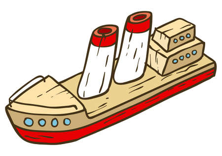 wooden toy: Wooden Toy Ship. Vector illustration isolated on white background