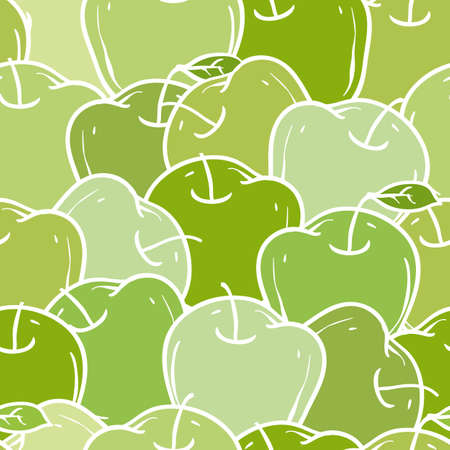 green apples: Ripe Green Apples Seamless Pattern