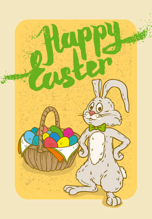 anthropomorphous: Happy Easter Postcard with Rabbit and Egg Basket