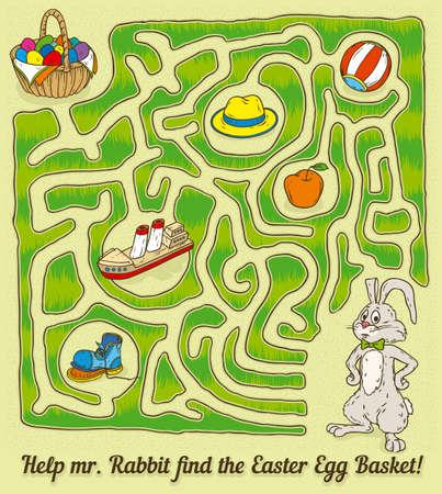 Easter Rabbit Maze Game. Find a Easter Egg Basket. Vector illustration