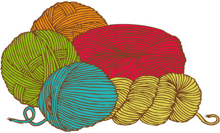Five hanks of yarn