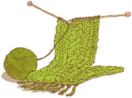 hank: Green wool scarf and hank of yarn with needles
