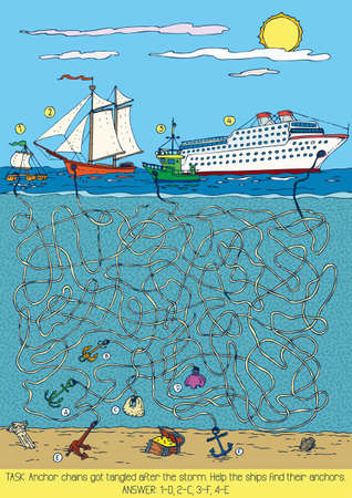 Sea Maze Game with ships and anchors. Vector illustration Çizim