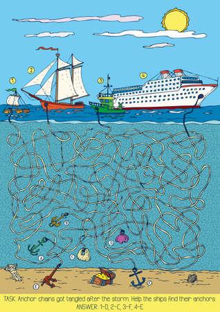 Zee Maze Game met schepen en ankers. Vector illustratie